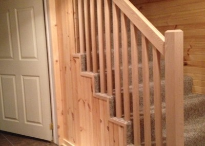 Pine Paneling With Natural Oak Rail and Spindles