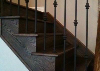 Refinished Staircase, Natural to Dark Walnut
