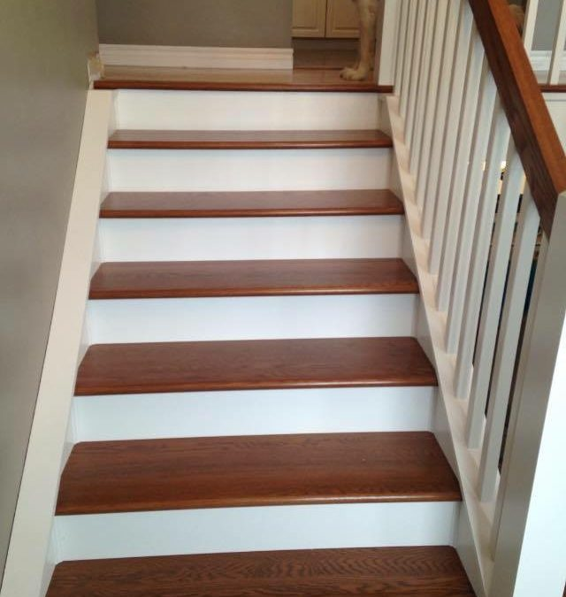 Stained railing/treads with painted risers/stringers ** Before and After